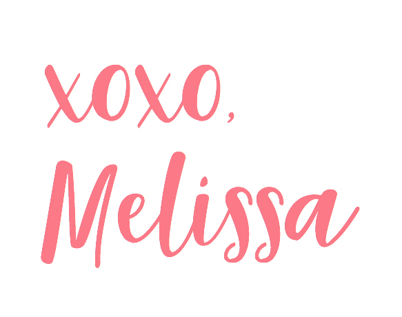 Melissa, xoxo, Sign off
