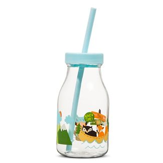 Woodland Animals Decal 14oz Plastic Milk Bottle with Straw - Pillowfort™